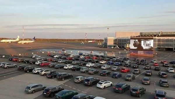 Airport Turned Movie Theater For Cars In Lithuania During Covid 19 Outbreak